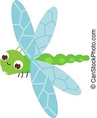 lindo, caricatura, insecto, ilustración, dragonfly., character., vector
