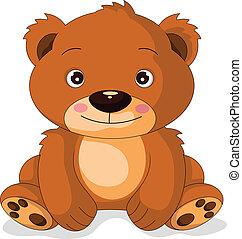 lindo, caricatura, oso