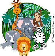 lindo, caricatura, safari