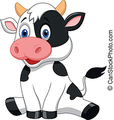lindo, caricatura, vaca, sentado
