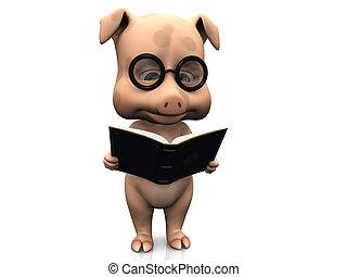 Lindo cerdo de caricatura sosteniendo un libro.