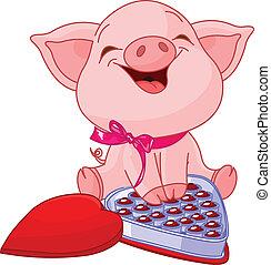 Lindo cerdo en San Valentín