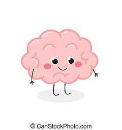 lindo, cerebro, divertido, carácter, vector, caricatura, ilustración