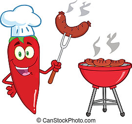 Lindo chef de chile rojo