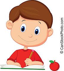 Lindo chico de caricaturas escribiendo en un libro