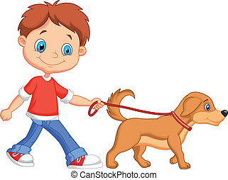 Lindo chico de dibujos animados caminando con perro