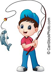 Lindo chico de dibujos animados pescando