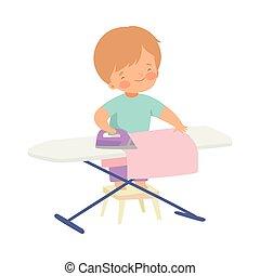 Lindo chico planchando ropa a bordo, adorable niño haciendo tareas domésticas en ilustraciones de vectores caseros