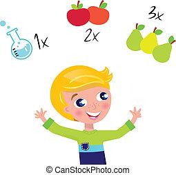 Lindo chico rubio aprendiendo matemáticas y contando aislado con blanco