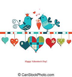 lindo, compartir, amor, valentines, aves, diseño, día