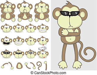 lindo, conjunto, mono