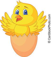 lindo, dentro, huevo, agrietado, pájaro