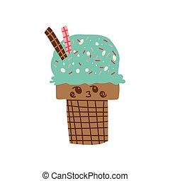 Lindo dibujo animado de helado, adorable kawaii dulce postre con divertida ilustración de vectores faciales