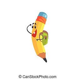 Lindo dibujo animado de lápiz amarillo con mochila, vector de lápiz humanoizado gracioso de ilustración