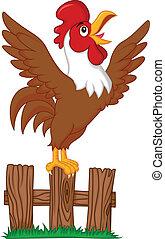 Lindo dibujo animado del gallo cantando en el