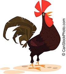 Lindo dibujo animado del vector Rooster aislado en el fondo blanco