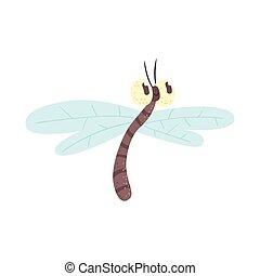 Lindo dibujo animado divertido Dragonfly vector de caracter Illustración