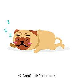 Lindo dibujo animado, divertido personaje de perro rabioso, vector de Ilustración