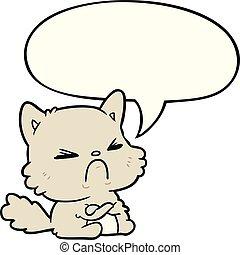 Lindo dibujo animado gato enojado y burbuja de habla