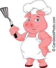 Lindo dibujo de cerdo chef