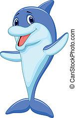 Lindo dibujo de delfines saludando