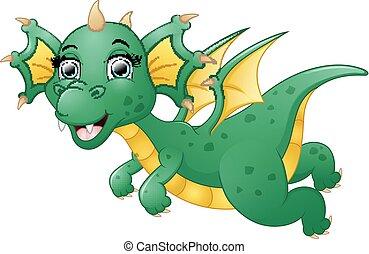 Lindo dibujo de dragón volando
