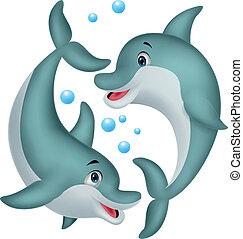 Lindo dibujo de la pareja de delfines