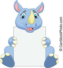 Lindo dibujo de rinoceronte en blanco