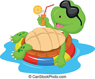 Lindo dibujo de tortuga en inflable R