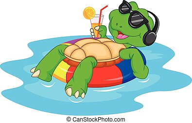 Lindo dibujo de tortuga verde