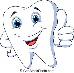 Lindo diente de dibujos animados con el pulgar arriba