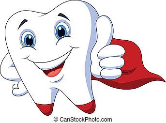 Lindo diente de superhéroe de dibujos animados