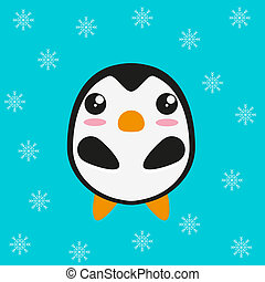 Lindo diseño plano de pingüinos de Kawaii.