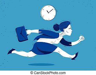 lindo, divertido, tarde, cómico, rush., trabajador, empleado, contador, mujer, caricatura, vector, empresa / negocio, mujer de negocios, ilustración, apuro, o, corra