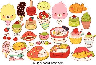 lindo, dulce, japonés, choco, kawaii, girly, garabato, aislado, blanco, encantador, adorable, pudín, alimento, colección, postre, bebé, plátano, ramen, caricatura, tortilla, infantil, icono, manga