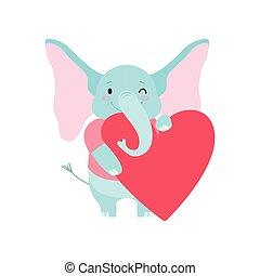 Lindo elefante sosteniendo un gran corazón rojo, divertido dibujo animado animal ilustración vectorial de caracter