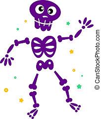 Lindo esqueleto de baile aislado en blanco