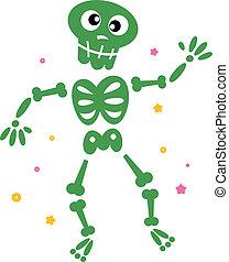 Lindo esqueleto verde bailarín aislado en blanco