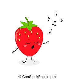 lindo, fresa, caricatura, vector, ilustración, carácter, canto