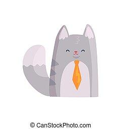 Lindo gato de hombre de negocios con corbata naranja, divertido dibujo animado vector de ilustración de animales
