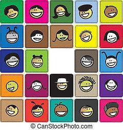 lindo, gráfico, bloques, plano de fondo, colorido, positivo, niñas, joven, emociones, como, niños, reír, ilustración, expresar, caras, sonreír feliz, coloreado, o, children(kids)., exposiciones