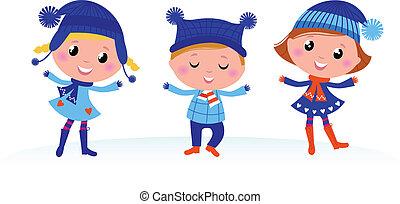 Lindo grupo de chicos de invierno aislados en blanco