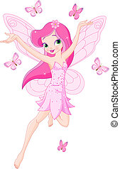 Lindo hada de primavera rosa