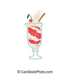 Lindo helado delicioso en cristal, adorable kawaii dulce postre con divertida ilustración de vectores faciales
