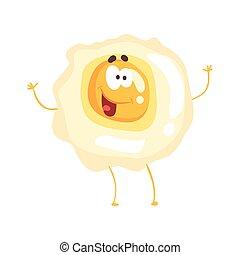 Lindo huevo frito de dibujos animados con carita sonriente, divertido vector de comida rápida vector de ilustración