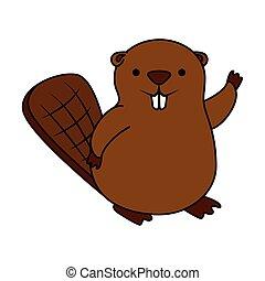 Lindo icono animal mascota de castor