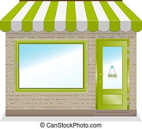 Lindo icono de tienda con toldos verdes.