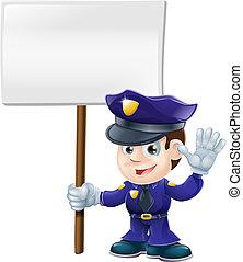 lindo, illustrat, hombre, muestra del policía
