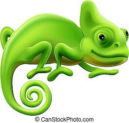 lindo, ilustración, camaleón