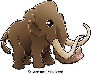 lindo, ilustración, mamut, lanoso